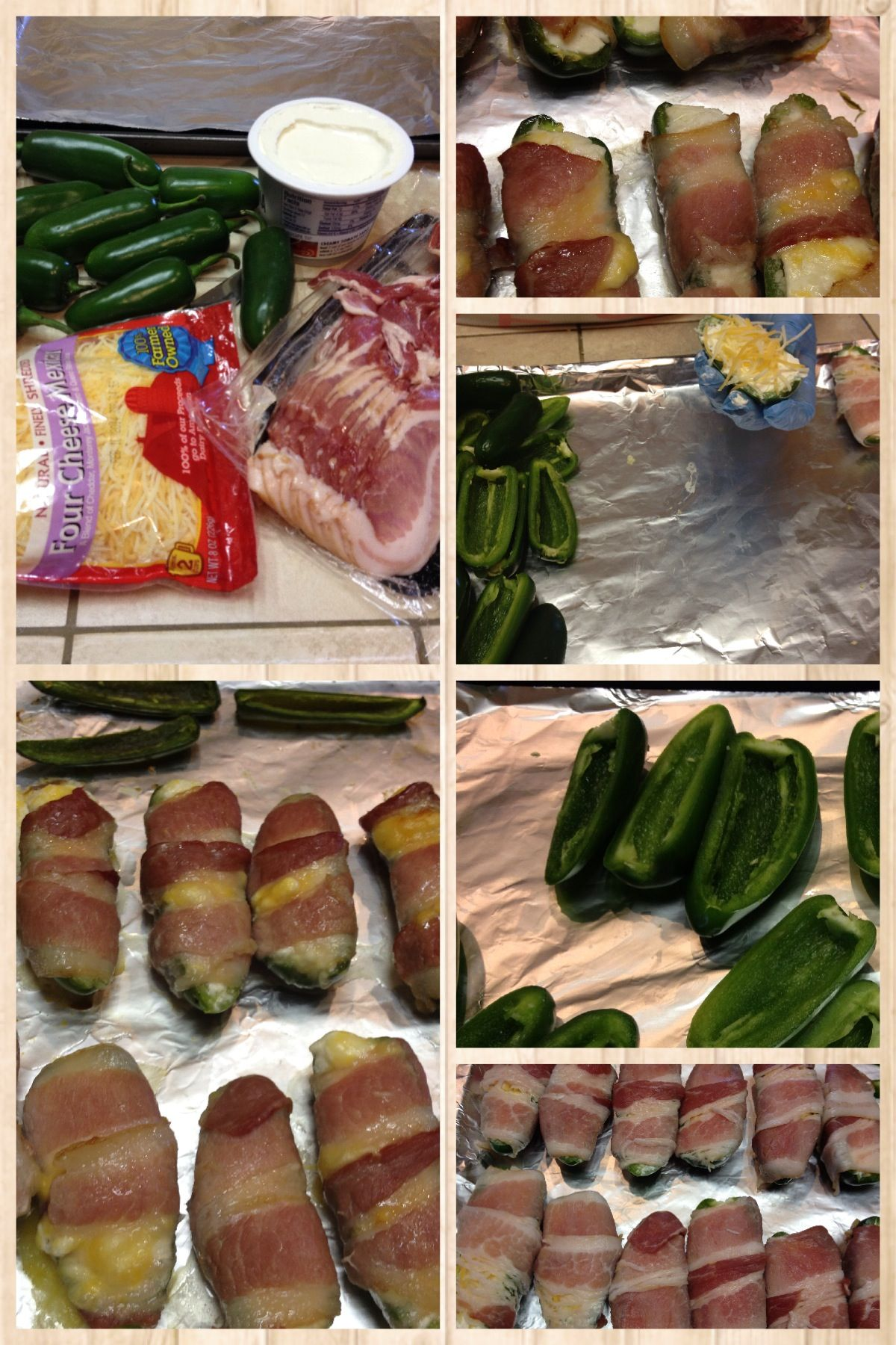 Stuffed Jalapeños wrapped in Bacon