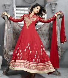 Buy Red Embroidery Pure Georgette Semi Stitched Designer Anarkali Suit anarkali-salwar-kameez online