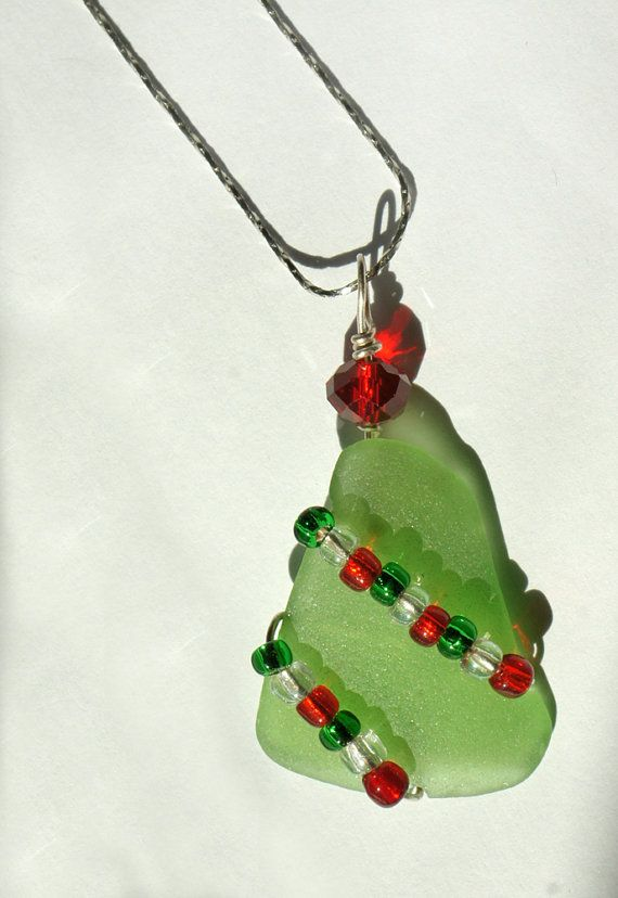 Sea glass christmas pendant and necklace in christmas tree design sea glass christmas pendant and necklace in by oceansbounty 1400 aloadofball Image collections