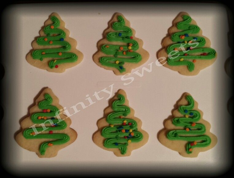 Christmas tree shaped sugar cookies