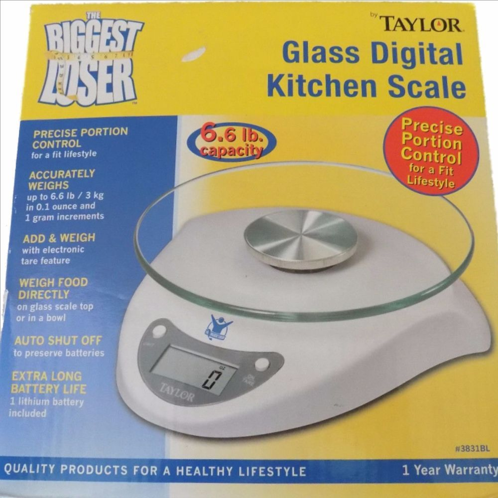 BIGGEST LOSER Glass Digital Kitchen Scale Taylor Model #3831B W/ 6.6 Lb  Capacity