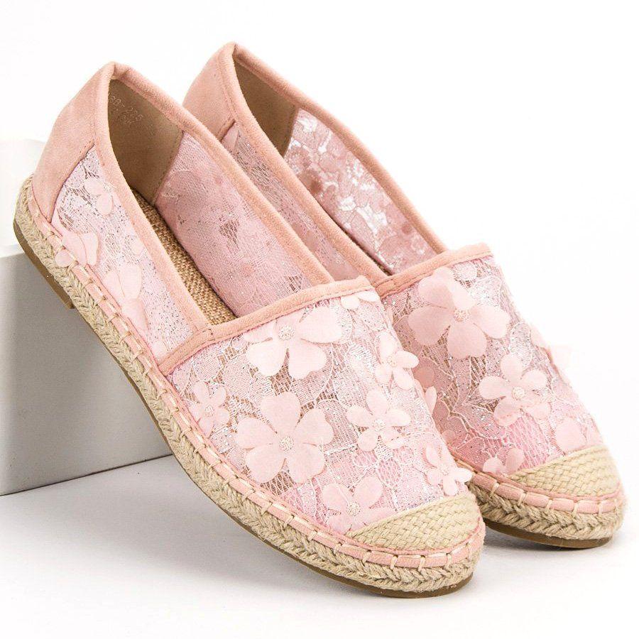 Espadryle Damskie Nionio Nio Nio Rozowe Koronkowe Espadryle W Kwiaty Espadrilles Flat Espadrille Shoes
