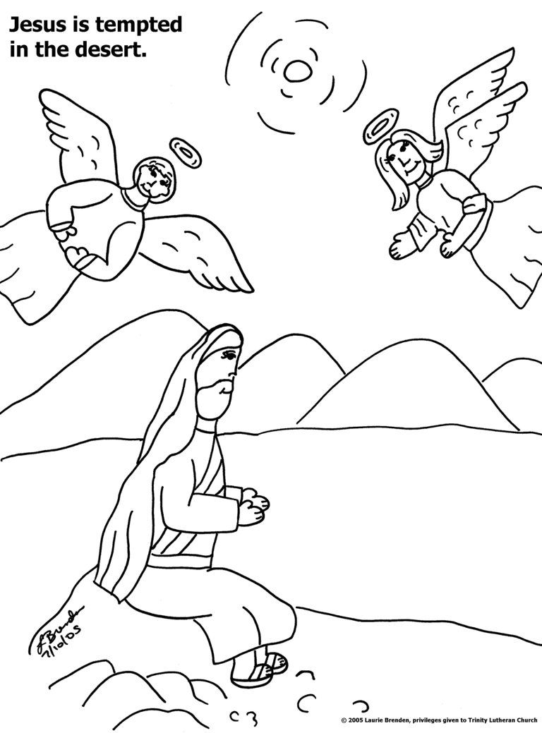 Coloring Pages Jesus In The Desert Sunday School Pinterest