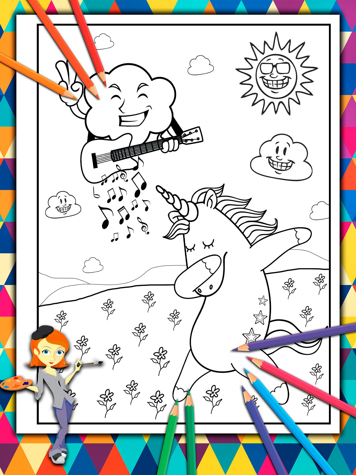 Music For The Happy Unicorn Unicorn Coloring Book For Kids By Katrin Brown Image 1 Coloring Books Dance Coloring Pages Book Art