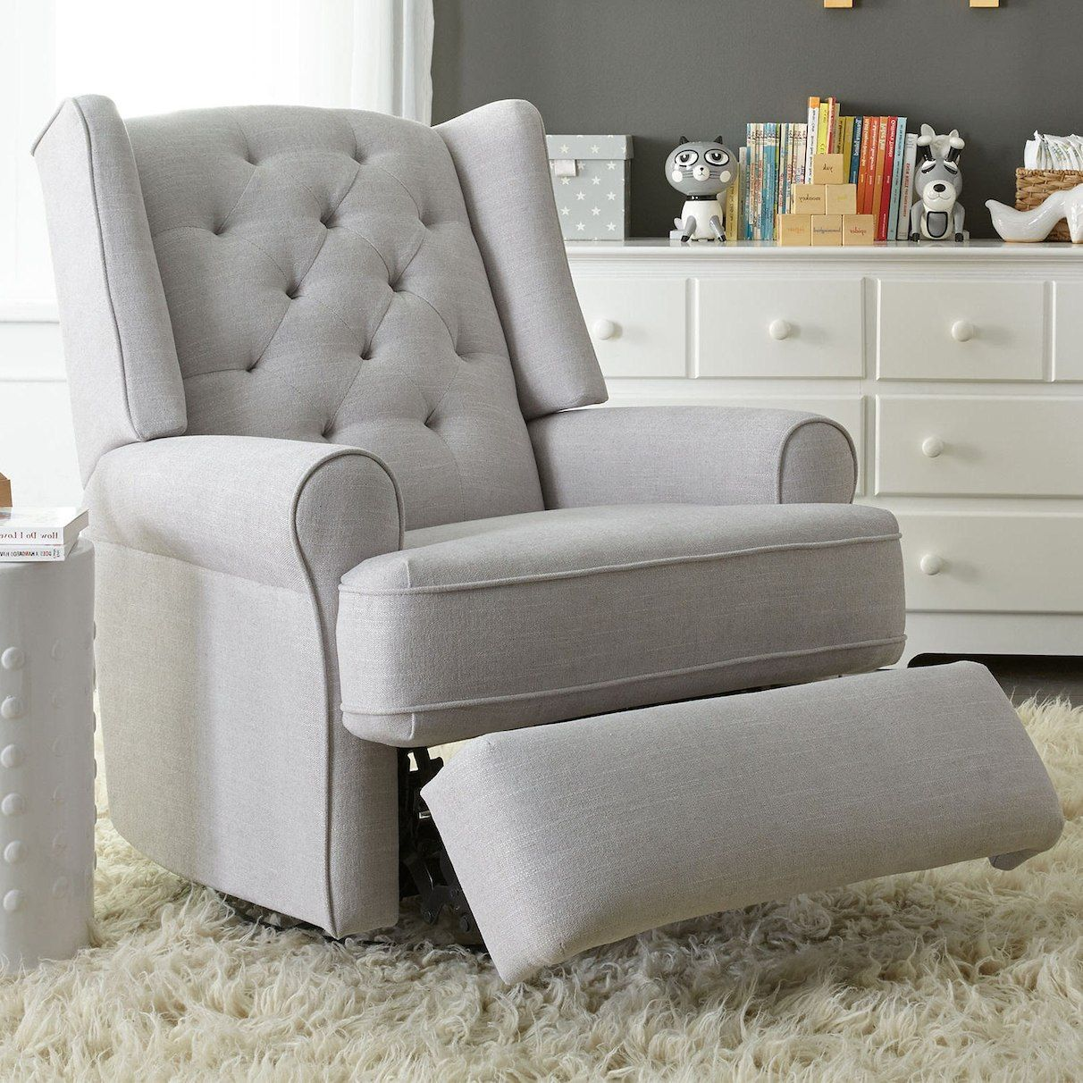 Best Chair For Nursery Customized Directors Covers Chairs Finley Swivel Glider Recliner Gray Tweed Robin Baby