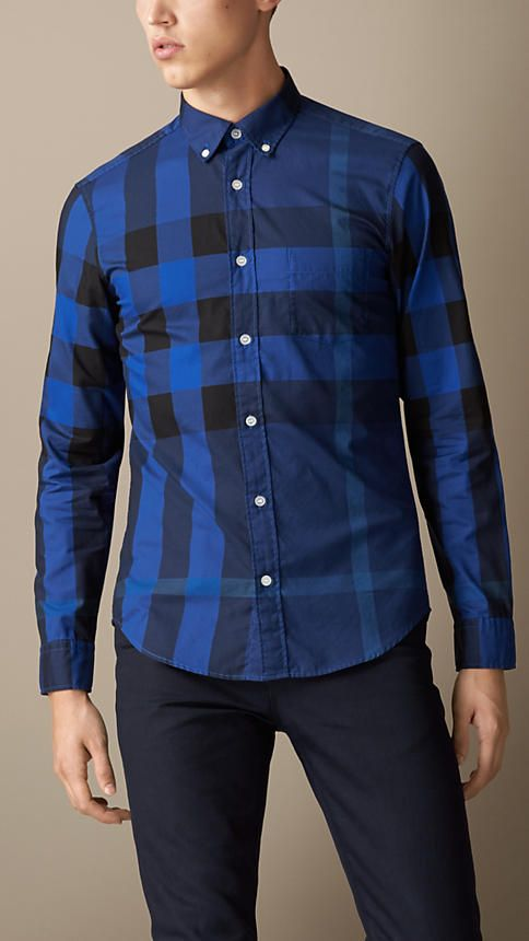 9c85c9f17e15 Cerulean blue (what a lovely name for a colour!) giant exploded check  cotton Shirt by Burberry