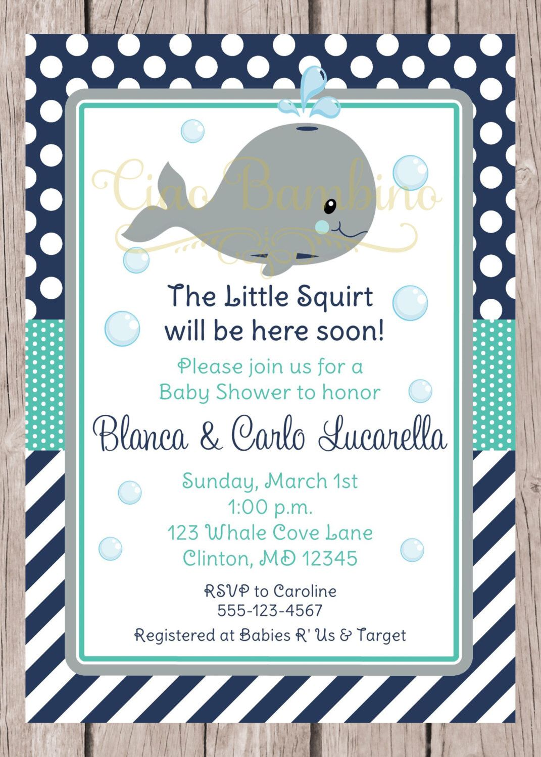 PRINTABLE Whale Baby Shower Invitation / Navy Blue, Gray and ...
