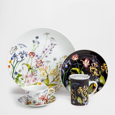 service petit d jeuner fleurs porcelaine vaisselle table zara home france veille. Black Bedroom Furniture Sets. Home Design Ideas