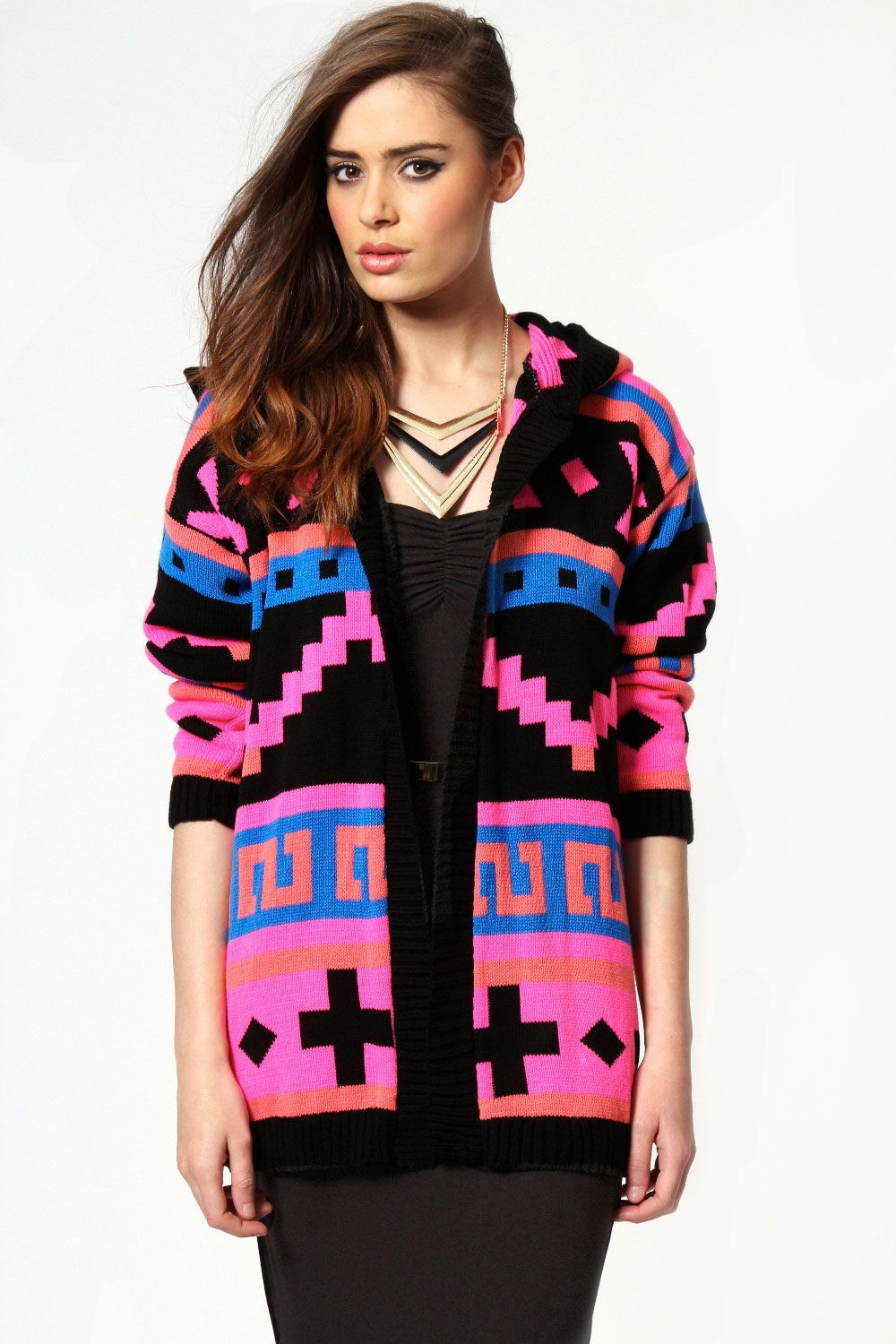 Jessie Neon Patterned Hooded Cardigan | Patterns | Pinterest ...