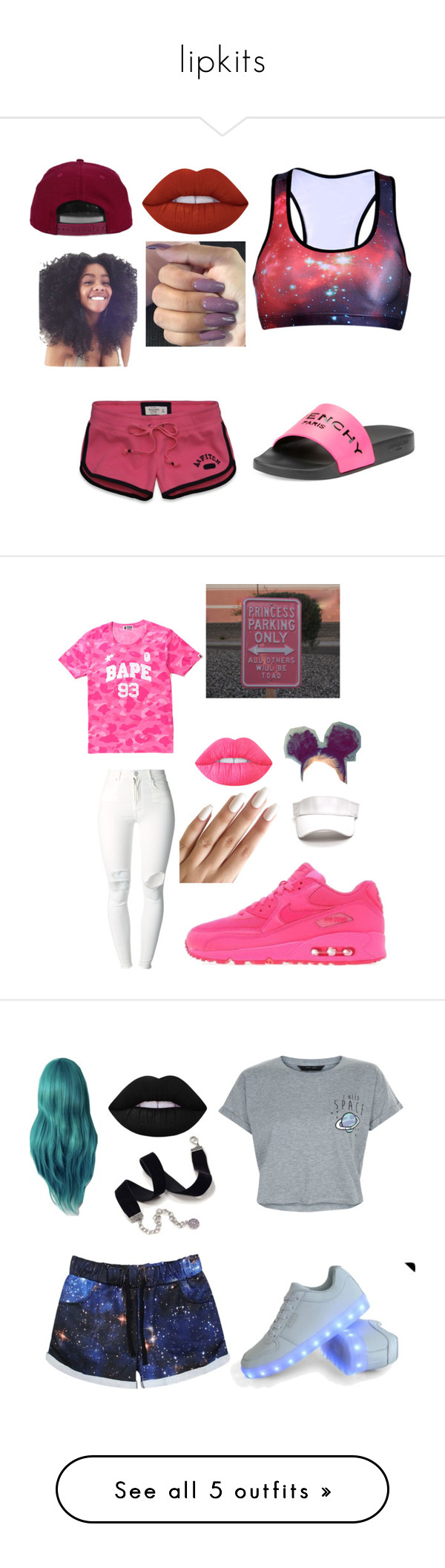 """""""lipkits"""" by jataejaherring ❤ liked on Polyvore featuring Lime Crime, Abercrombie & Fitch, H&M, Givenchy, NIKE, (+) PEOPLE, New Look, Sweet Romance, Martucci and Breckelle's"""