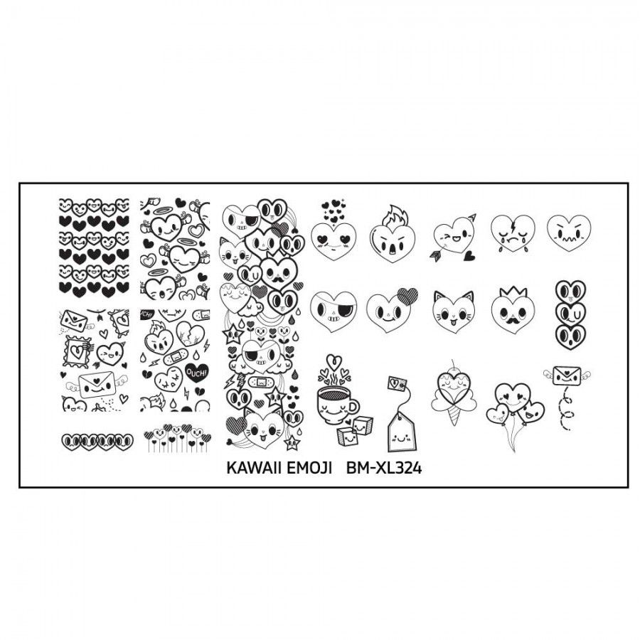 Kawaii Emoji XL Nail Art St&ing Plate Set - Love Overload  sc 1 st  Pinterest & Kawaii Emoji XL Nail Art Stamping Plate Set - Love Overload | Bundle ...