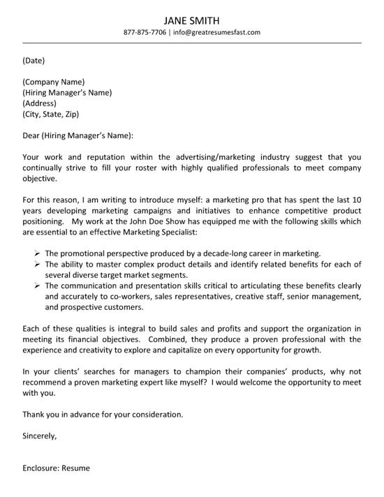 Advertising Cover Letter Example  Cover Letter Example Letter