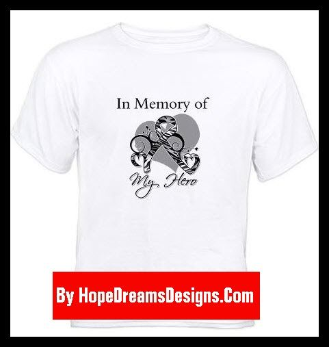 In Memory of My Hero Carcinoid Cancer shirts and gifts featuring a zebra striped floral awareness ribbon with a heart design for remembrance by hopedreamsdesigns.com