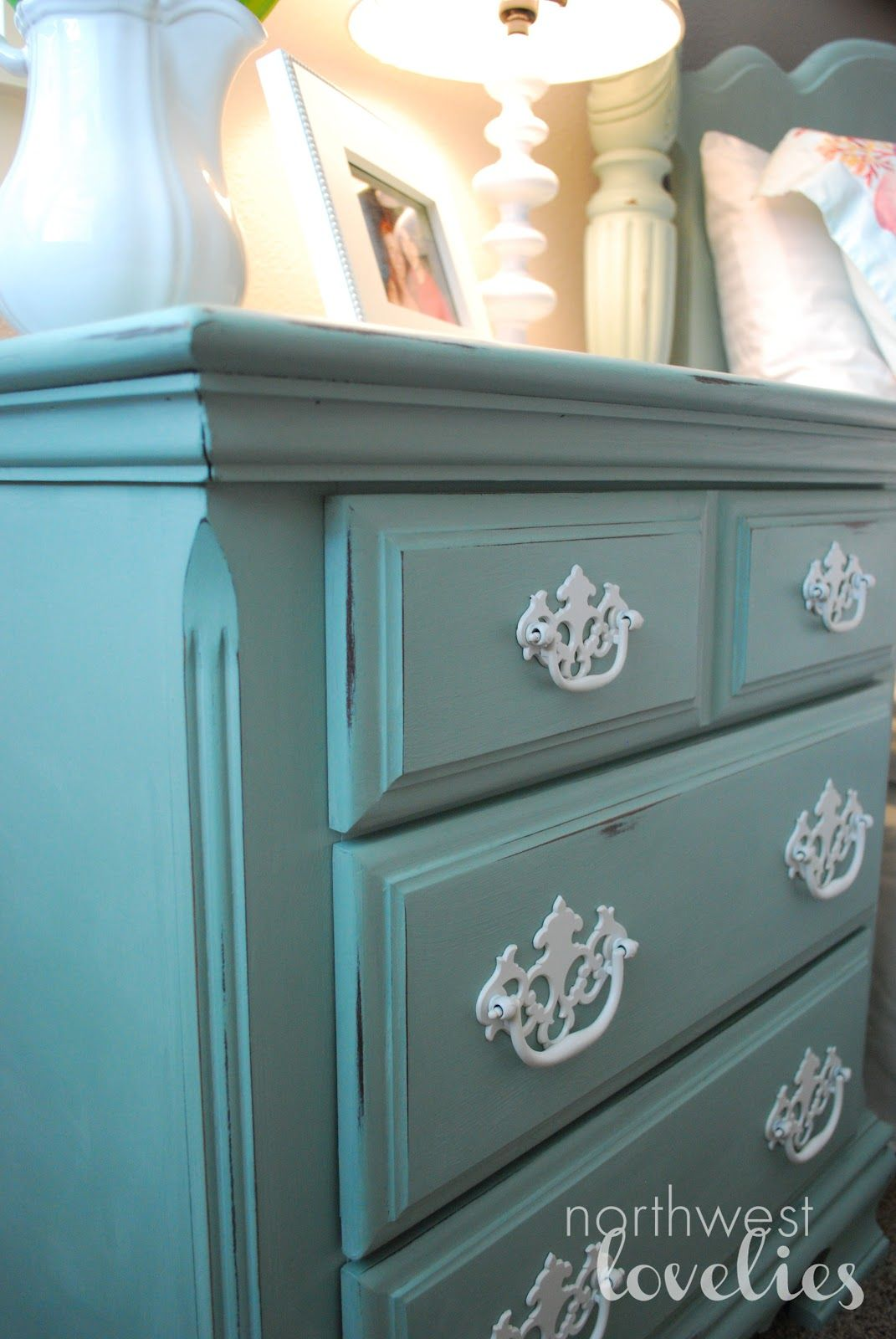 Sweet Home Muebles White Hardware On Distressed Pastel Blue Dresser