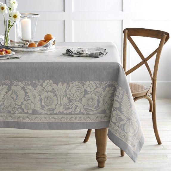 Vintage Floral Jacquard Tablecloth 70 Grey Williams Sonoma