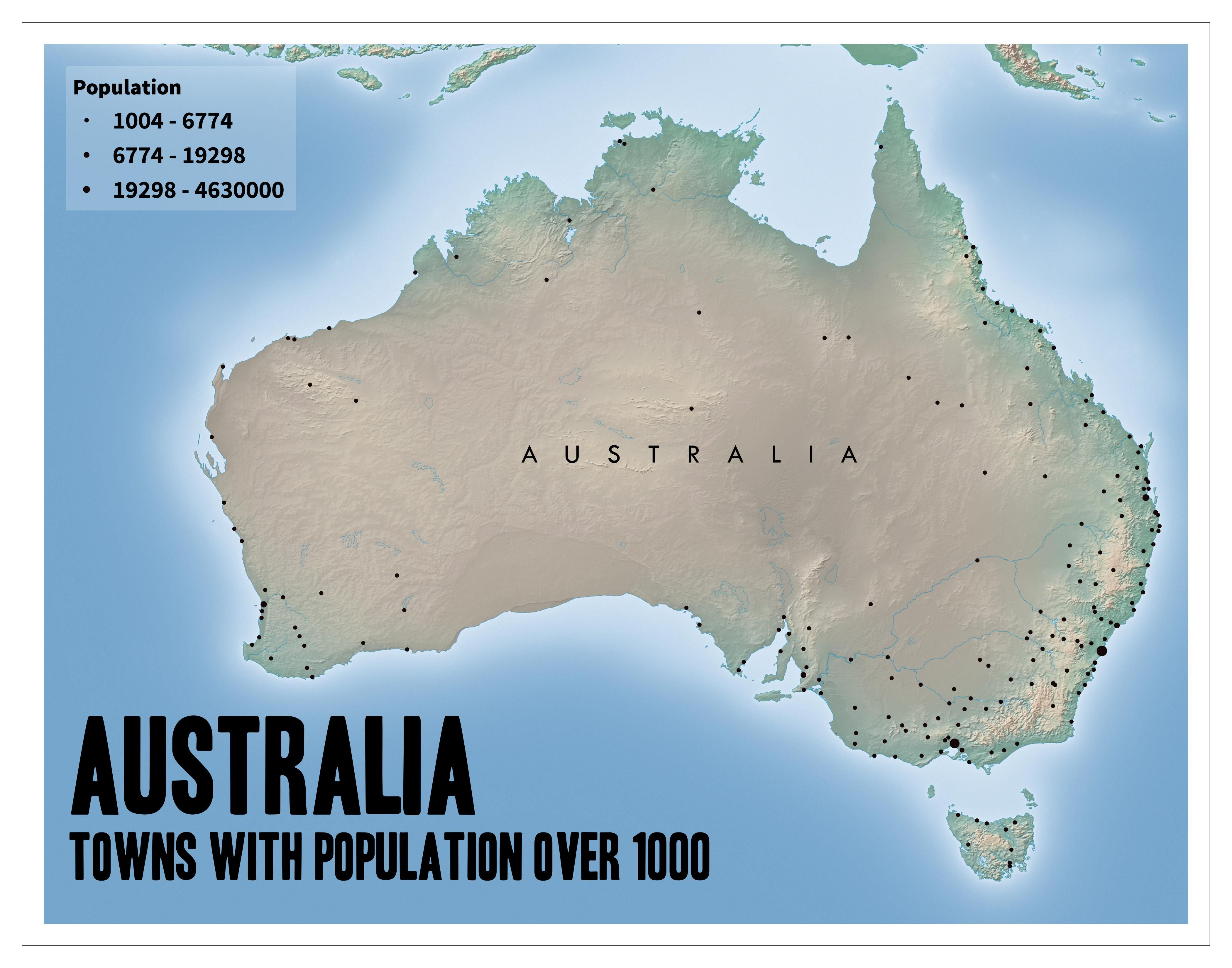 Australian townscities with population over 1000 Australian
