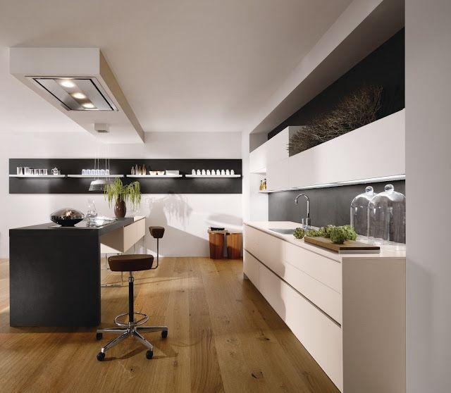 Cuisine #design sans poignées avec hotte plafond par @ALNO UK