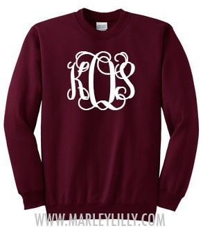 Would literally buy every single color combination of this Marley Lilly Monogrammed Crewneck Sweatshirt!!