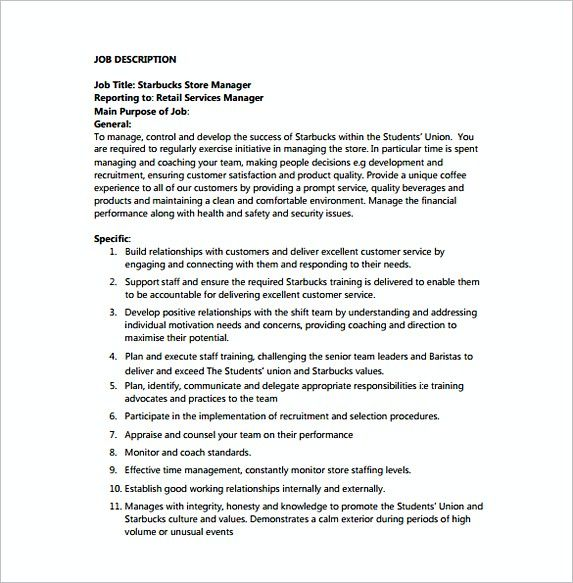 Store Manager Job Description Resume Store Manager Job Description For Starbucks Free  Assistant Store