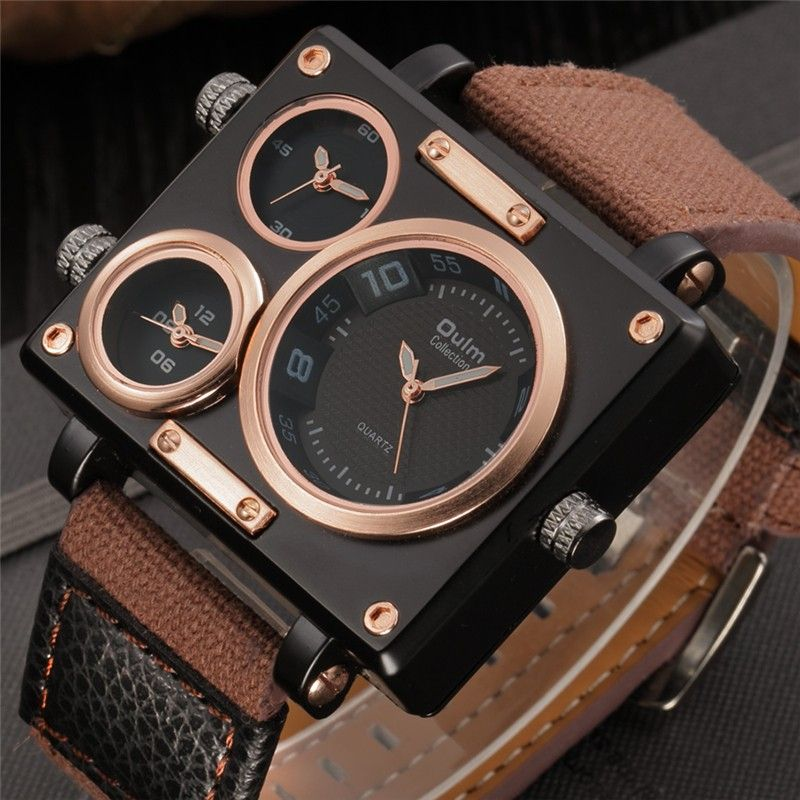 Oulm Watch Luxury Brand Man Fabric Srap QuartzWatch Clock