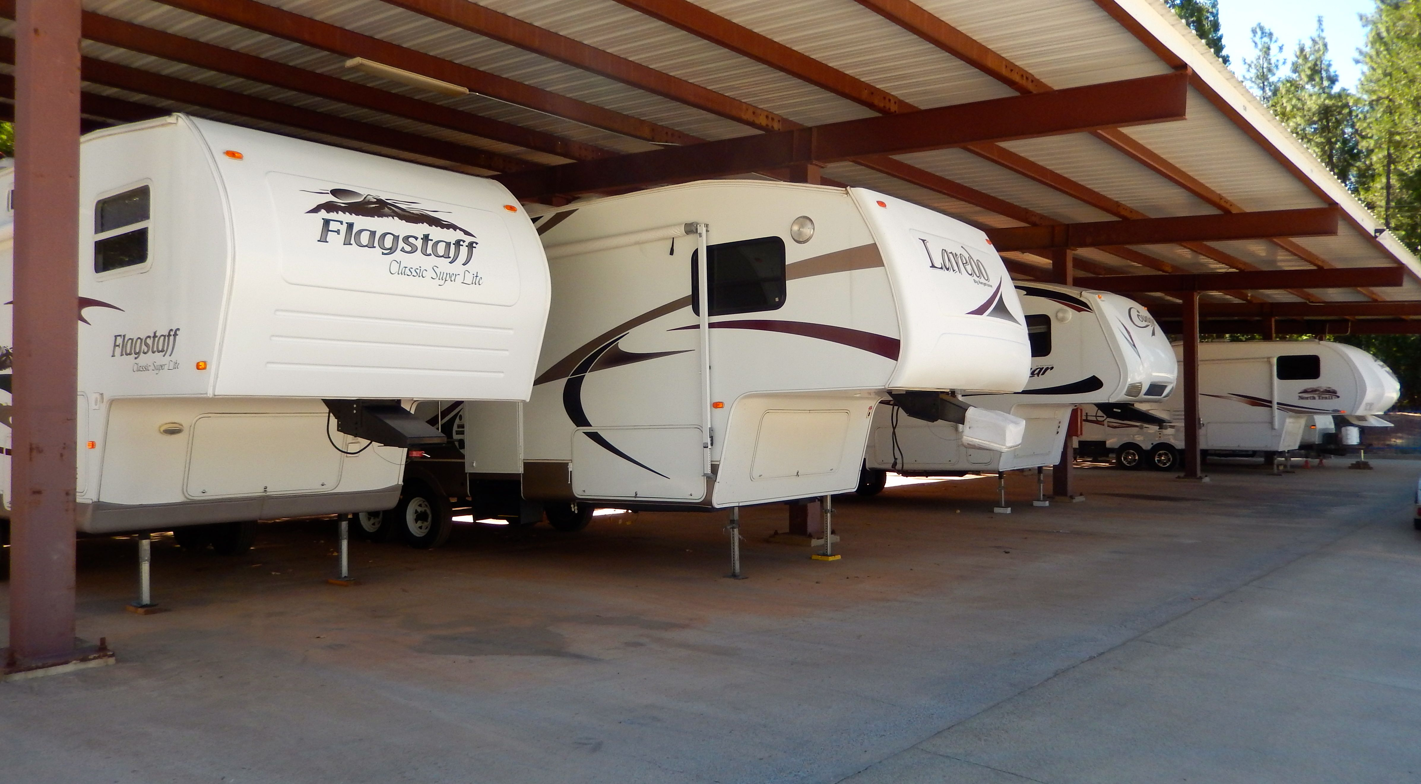 Canopy covered parking at arcos pioneer rvstorage