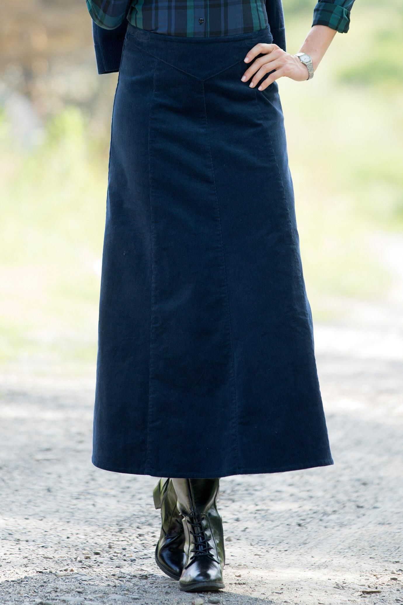 Long A-Line Corduroy Skirt: Classic Women's Clothing from ...
