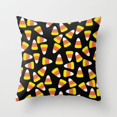 Candy Corn Jumble Black Background Throw Pillow By Lisa Argyropoulos 20 00 Throw Pillows Pillows Candy Corn