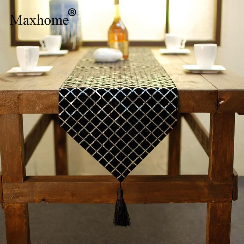 Nordic Design Simple Lattice Table Flag Modern Fashion Black And White  Sequins Table Runner Wedding Decoration