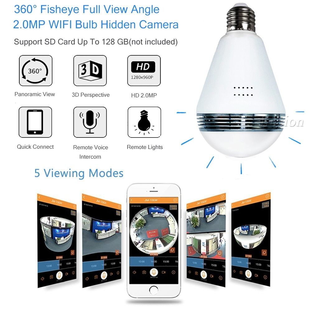 WiFi Series Light Bulb With 360 Degrees Surveillance