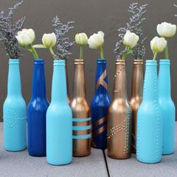 Turn empty beer bottles into pretty bud vases with this basic DIY.