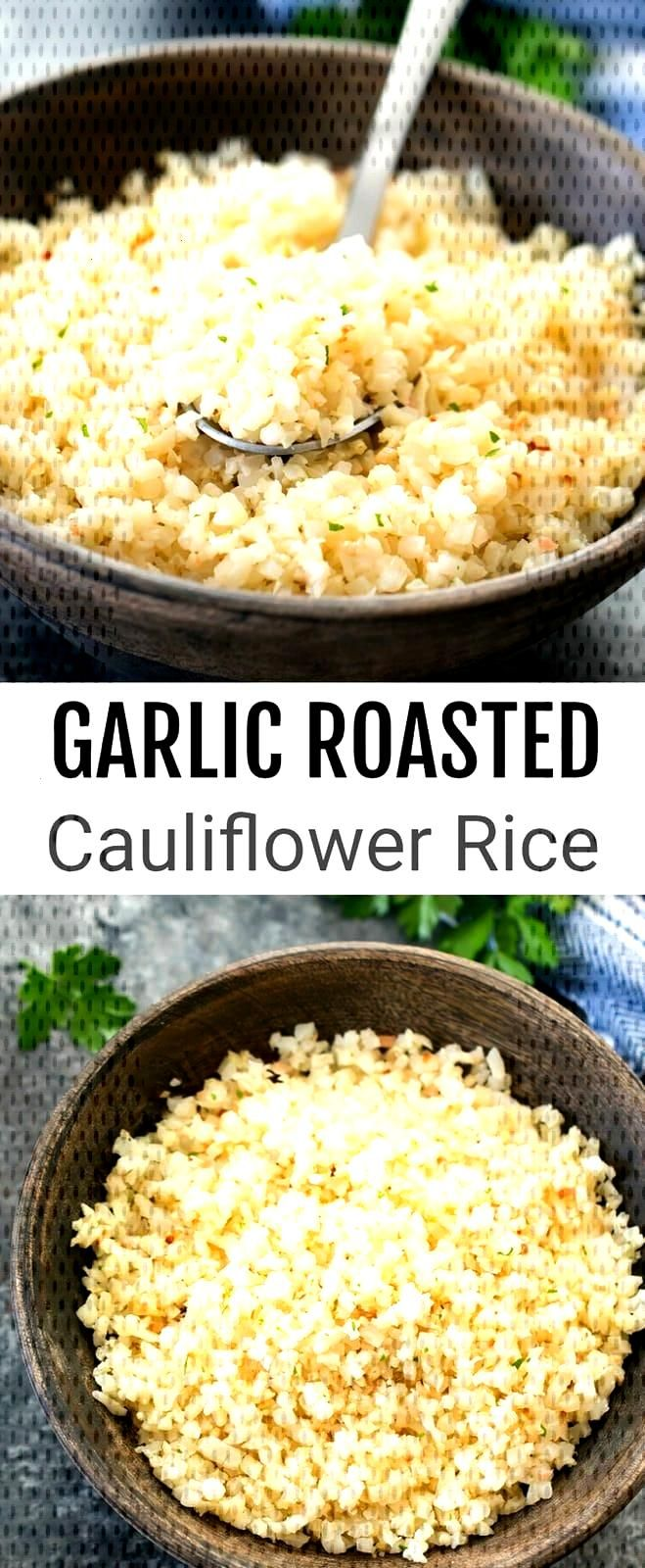 Garlic Roasted Cauliflower Rice. An easy and flavorful low carb rice substitute.... - Rice Recipes