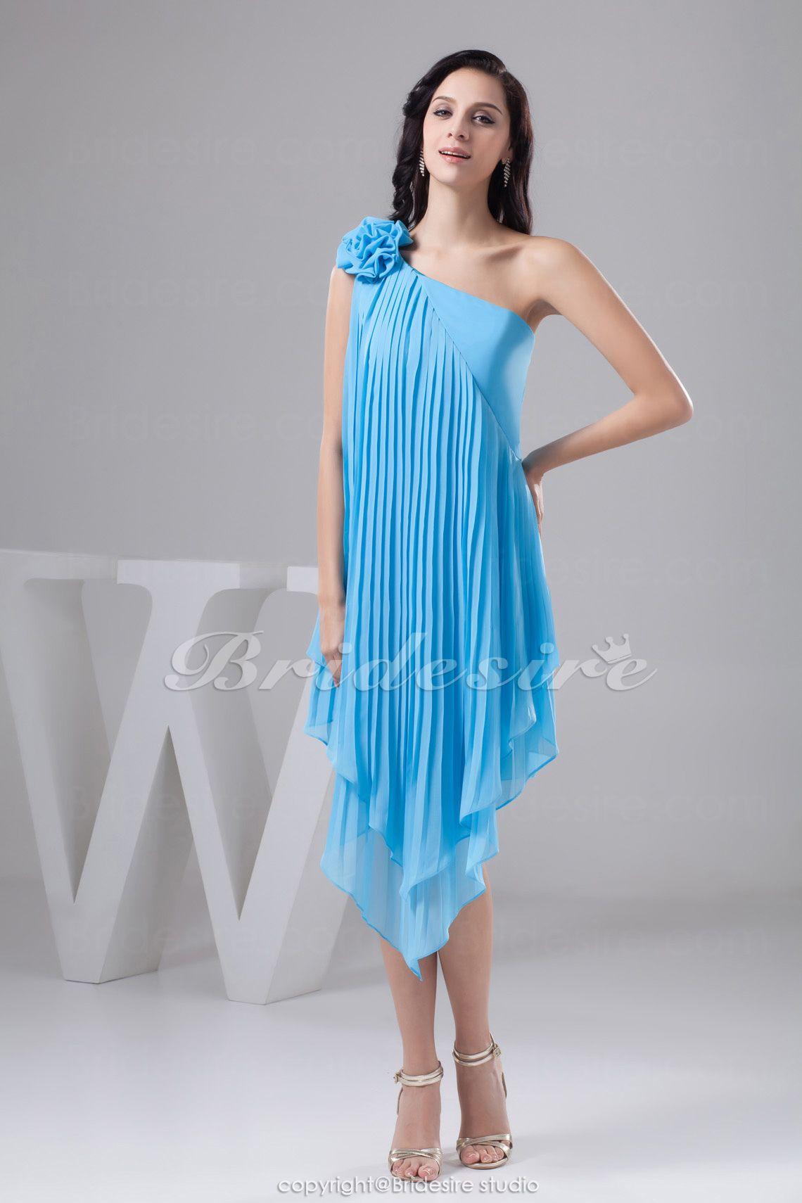 A-line One Shoulder Short/Mini Sleeveless Chiffon Satin Dress #mini ...