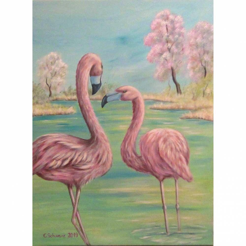 """Original Acrylbild """"Flamingos im Frühling"""" – Kunst Bild Vögel gemalt Vogelmale…"""