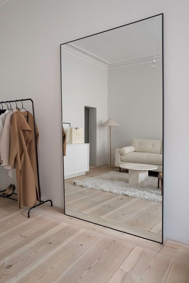Giant Minimalist Mirror Minimalist Living Room Decor Minimalist Living Room House Interior