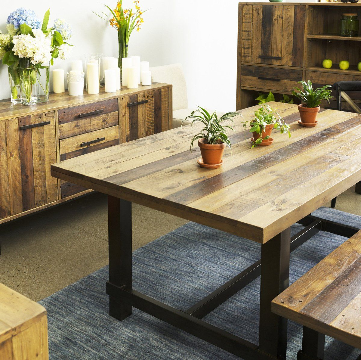 Solid Recycled Pine Wood Dining Table With Images Dining Table