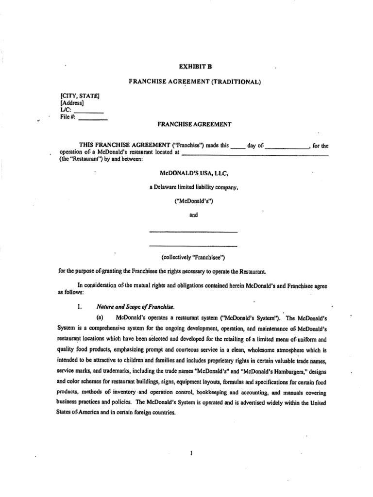 Mcdonalds Franchise Agreement Franchising Donald Form  Home
