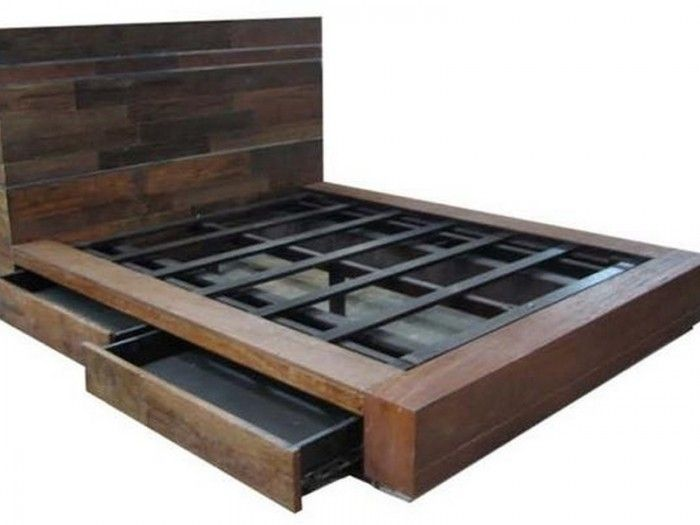 Diy Rustic Storage Bed Google Search Bed Frame With Drawers