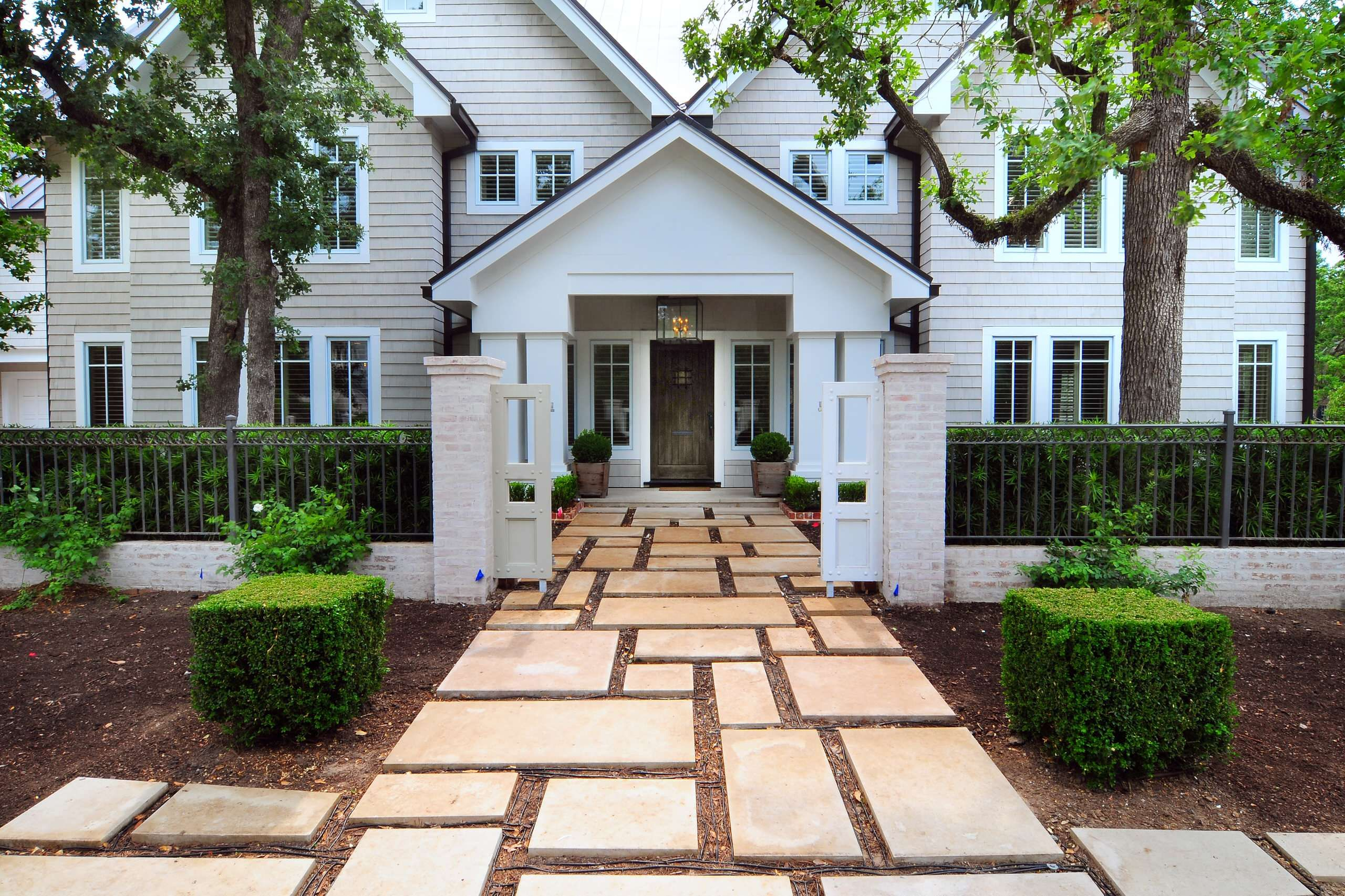 dramatic landscape design using paver walkway ideas fence design with brick front gate also paver
