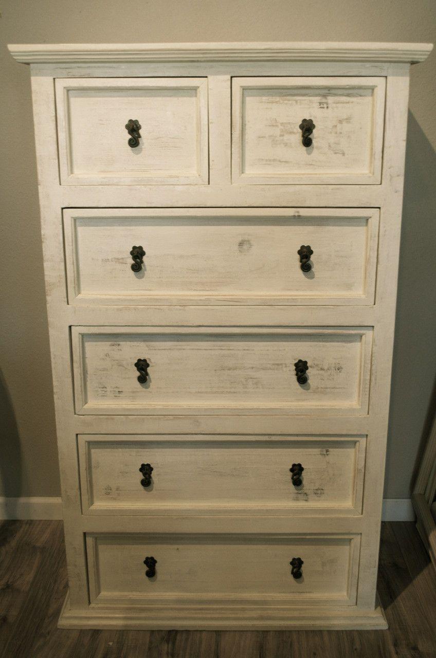 Farmhouse Distressed White Tall Dresser Dresser Decor Wood