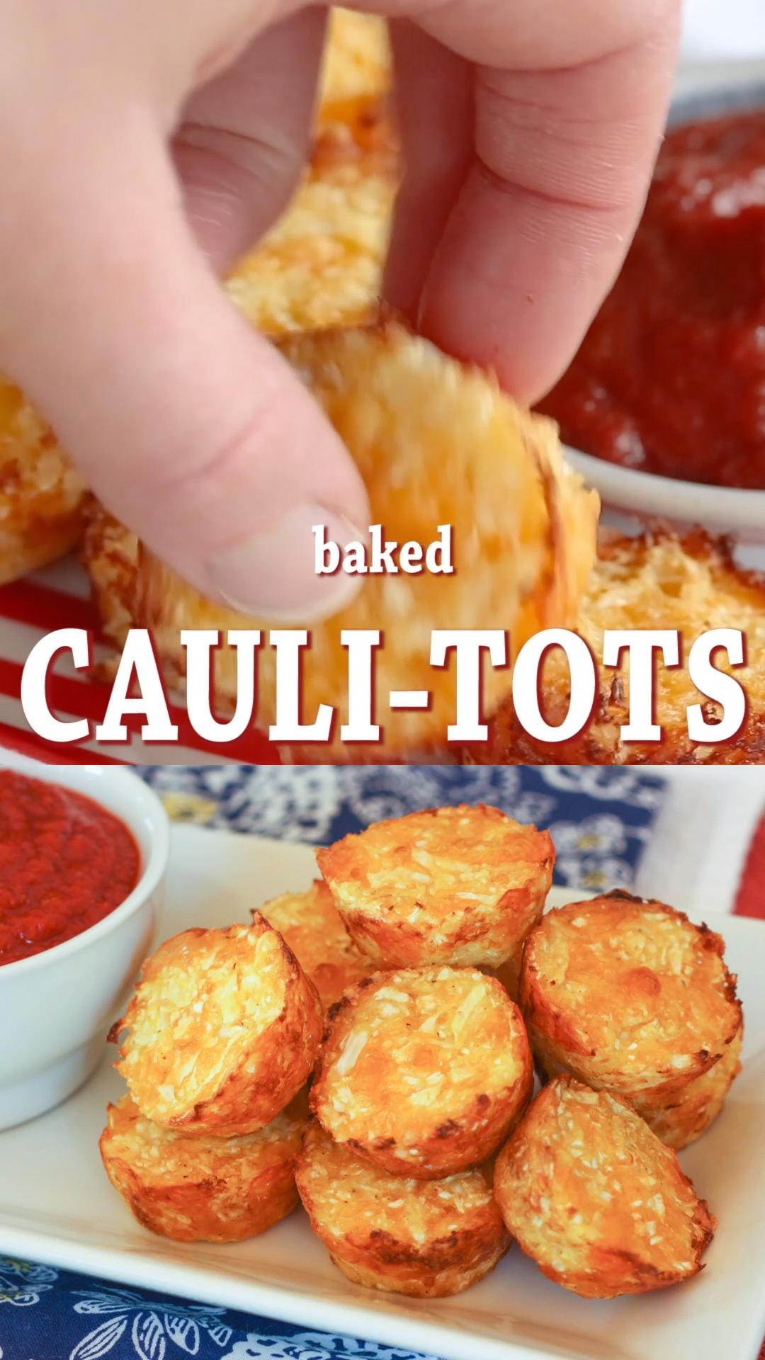 Easy Cheesy Baked Cauliflower Tots Recipe - Cupcak