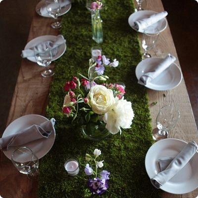Moss Table Runners, FYI   When You Buy Moss Itu0027s Really Stinky, If Plan On  Doing Any DIY Moss Projects For A Wedding Make Sure You Have Them All Done  Ahead ...