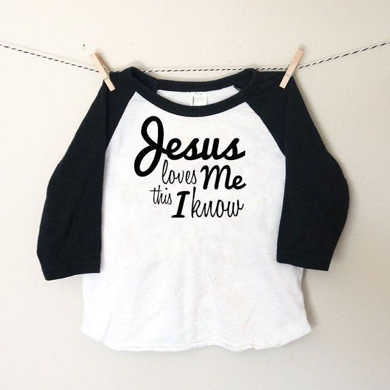 2589ee755 Jesus Loves Me Black & White Toddler Raglan Tshirt by EliandRyn ...