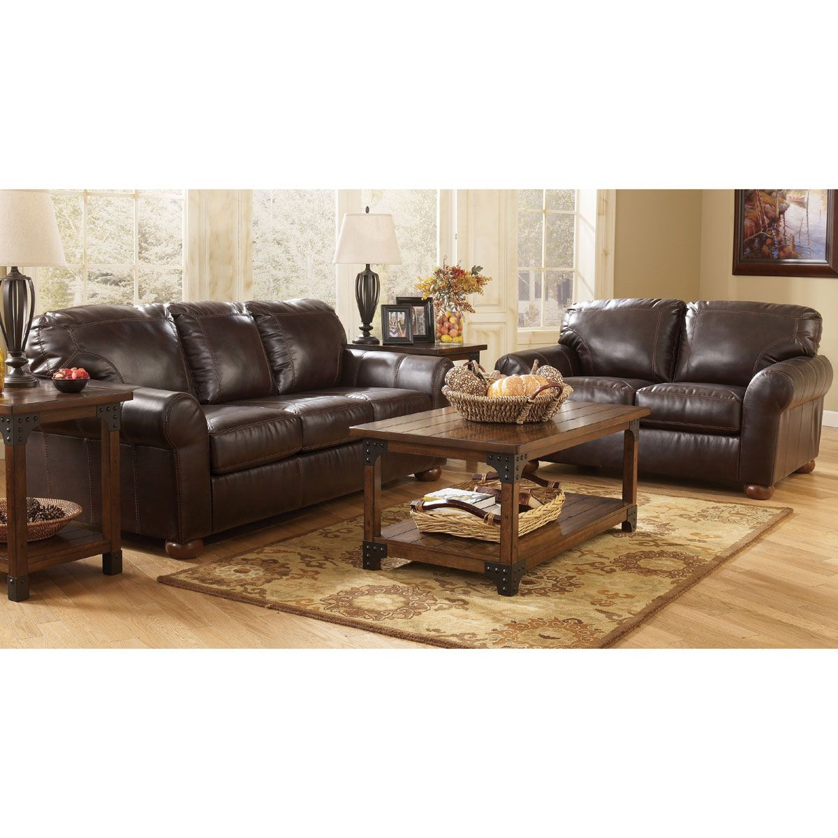 Brown upholstered 2 piece room group in 2019 living room - Brown suede living room furniture ...