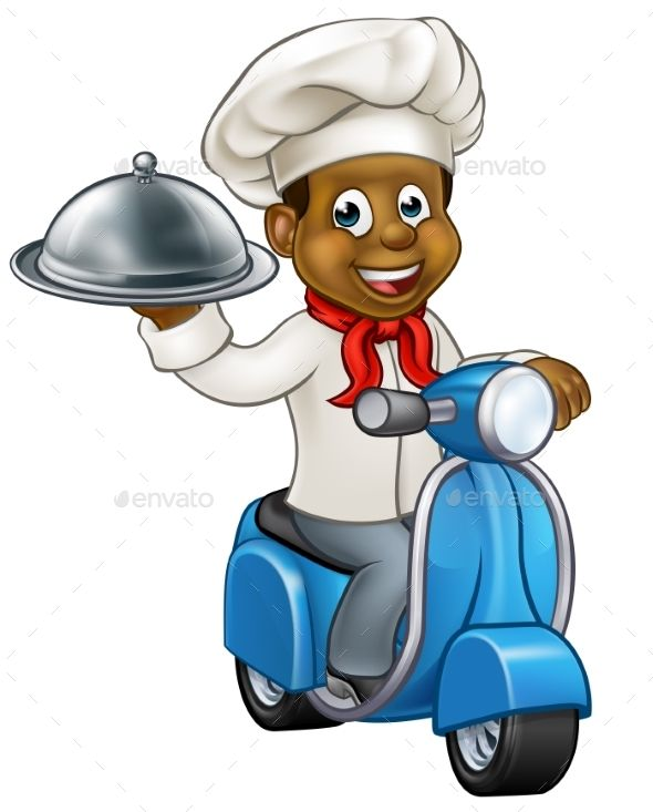 Cartoon Black Delivery Moped Scooter Chef Graphics Inspiration