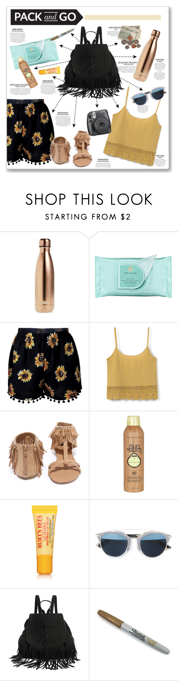 """Pack for Coachella!"" by kellylynne68 ❤ liked on Polyvore featuring S'well, Estée Lauder, MANGO, Qupid, Sun Bum, Burt's Bees, Christian Dior, Sharpie, coachella and Packandgo"