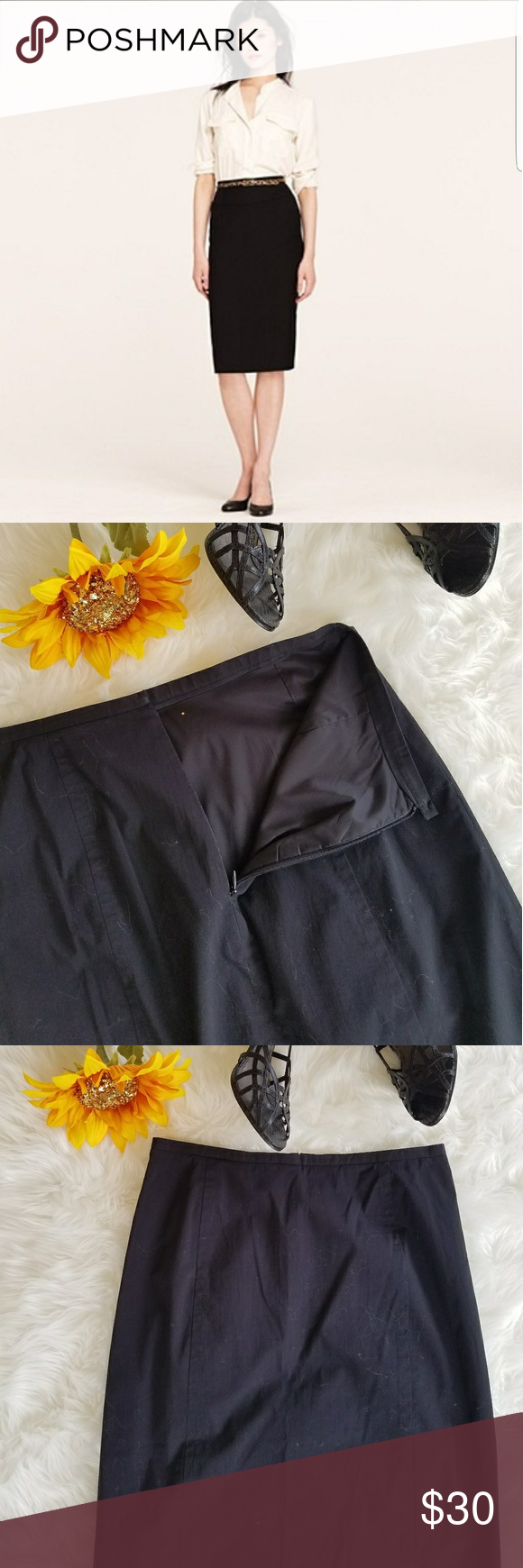 "J Crew Black Pencil Skirt Beautiful J Crew Black Pencil Skirt  Fully lined  Back zipper, back slit  14"" Waist 26.5"" Length(Waist to Hem) 60% Cotton, 38% Nylon, 2% Lycra Spandex  Lining: 95% Polyester, 5% Spandex  Dry Clean Only J. Crew Skirts Pencil"