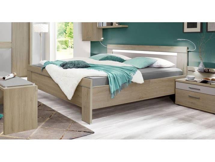 Bett in Eiche sägerau Dekor 140x220 cm mit Schubkästen ...