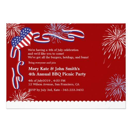 4th of July BBQ Picnic Invitation Party July 4th Invitations - bbq invitation template