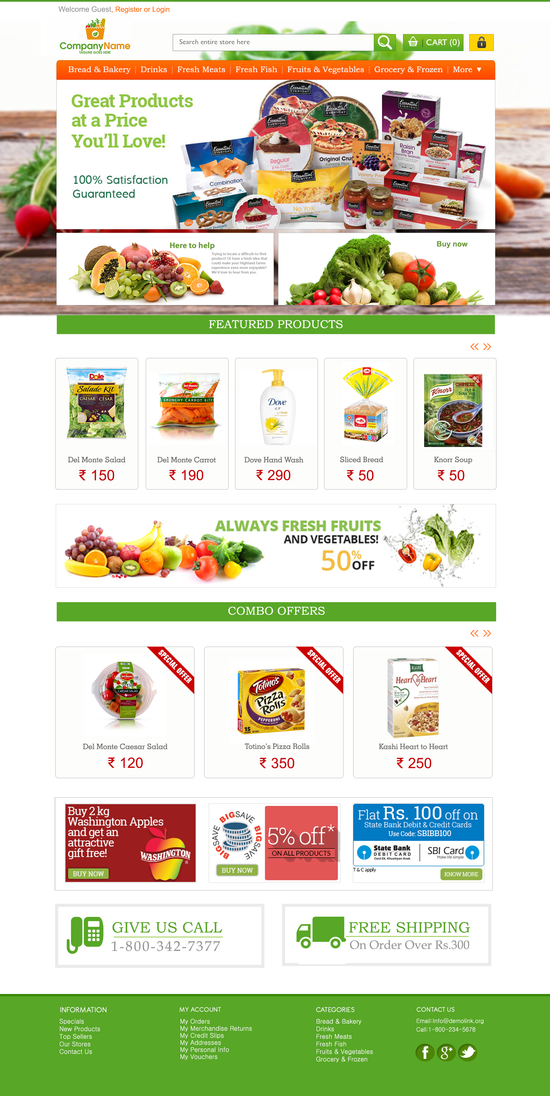 Online Grocery Work Ecommerce Layouts Template