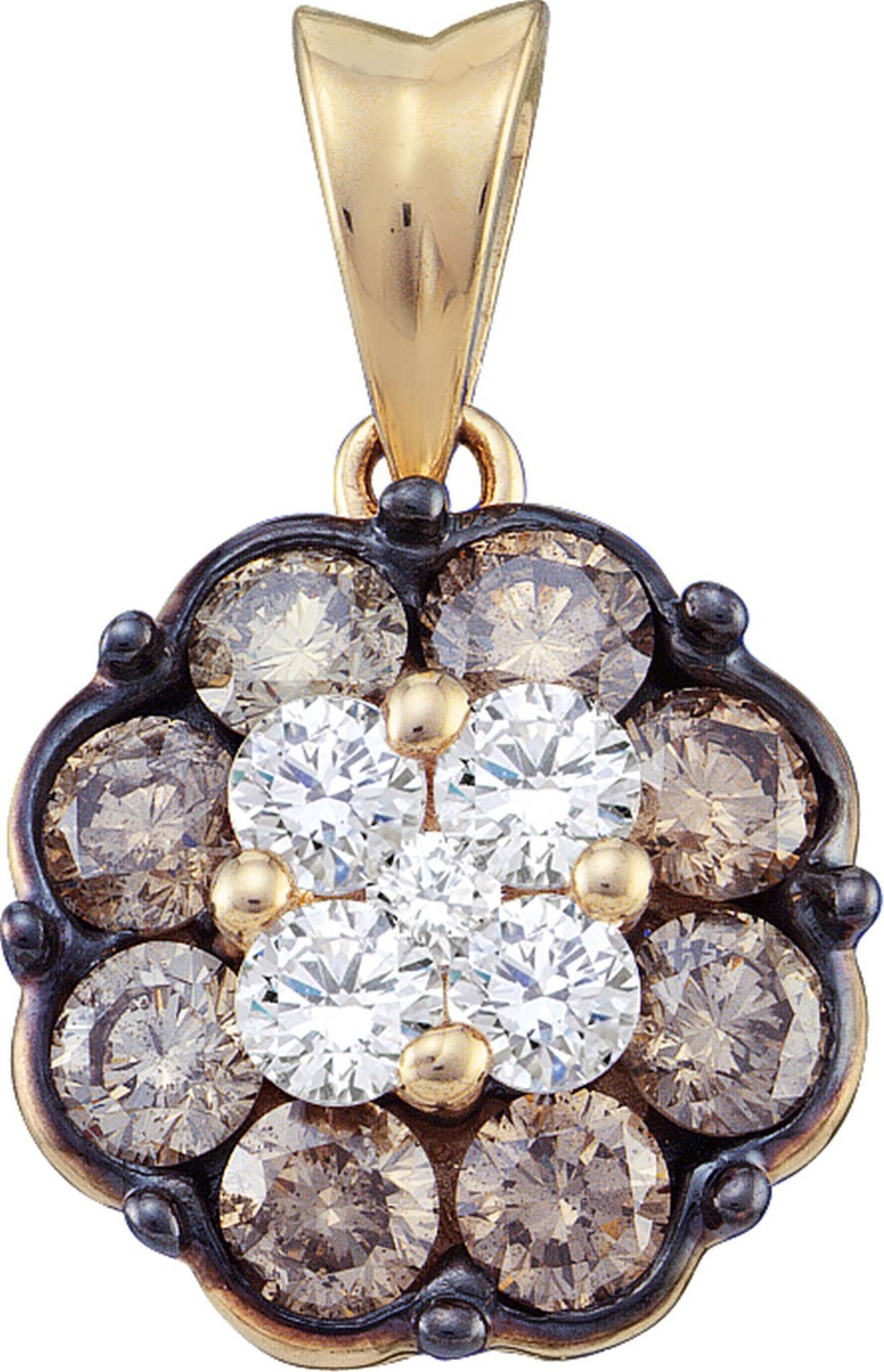 1.00CT Chocolate Brown/White Diamond 14K Yellow Gold Flower Cluster Pendant